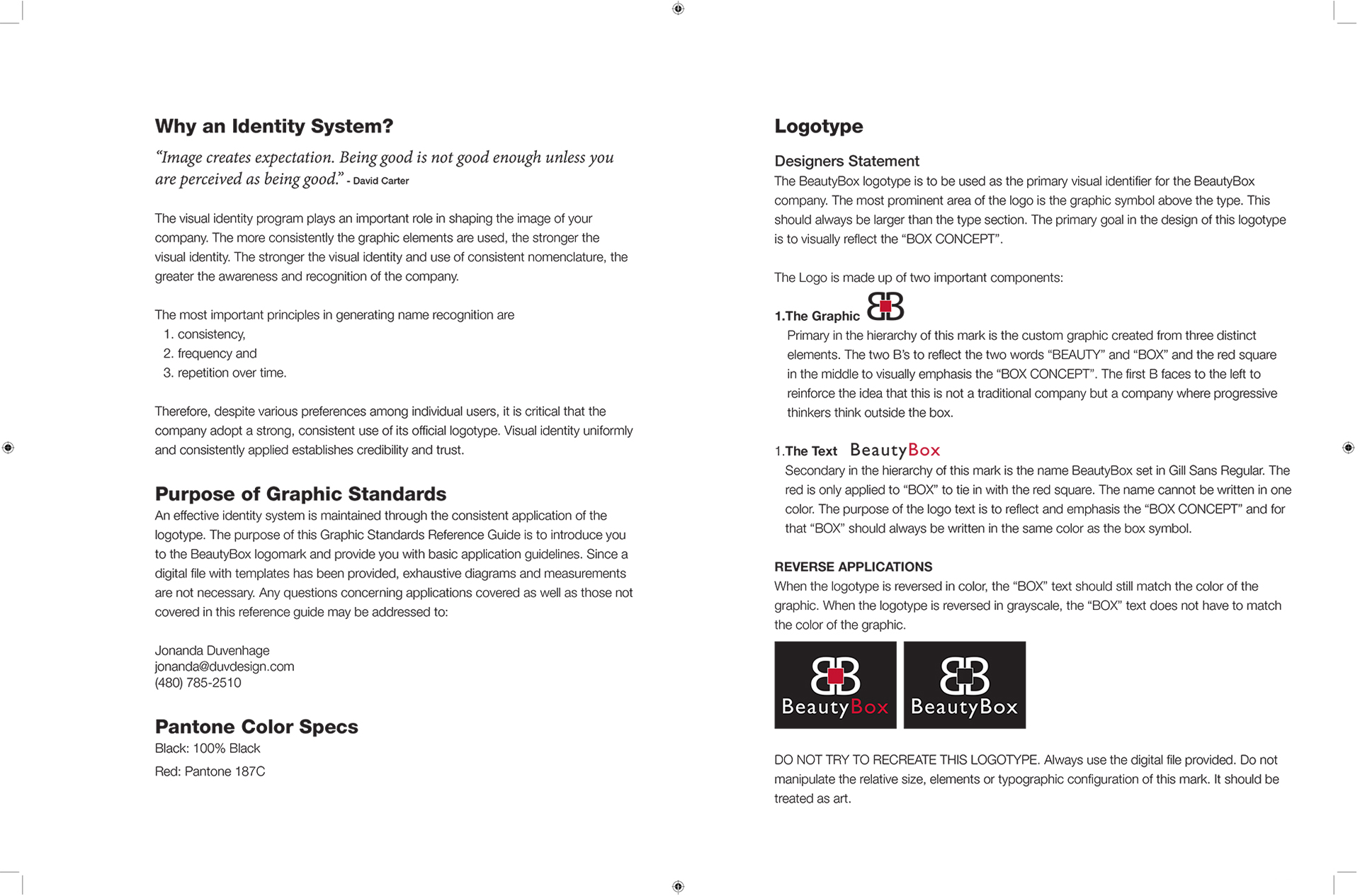 Beauty Box Corporate Identity Standards Manual